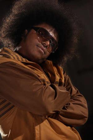 sweatsuit: African American male breakdancer posing