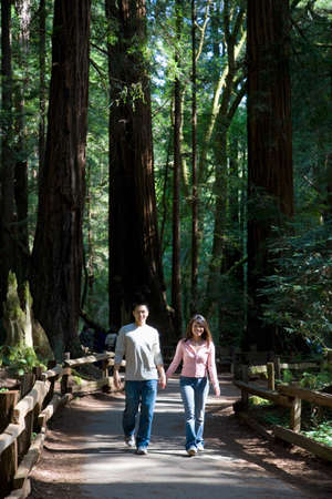 leaning by barrier: Asian couple walking in woods