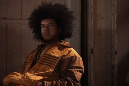 sweatsuit: African American male breakdancer with afro
