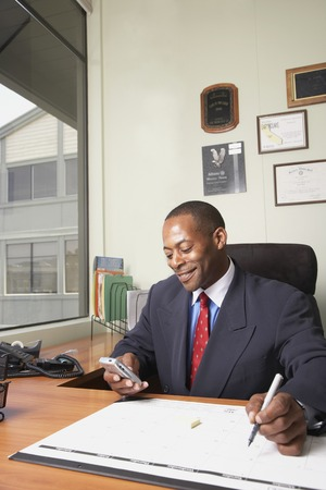 electronic organizer: African businessman looking at electronic organizer LANG_EVOIMAGES