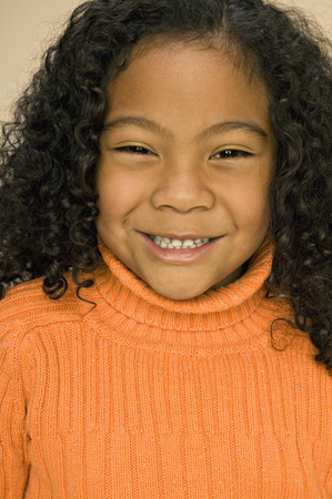 low spirited: Pacific Islander girl with curly hair