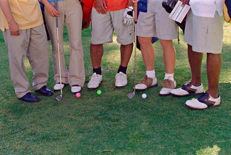 squatter: Multi-ethnic friends on golf course
