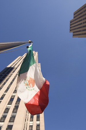 relishing: Low angle view of Mexican flag