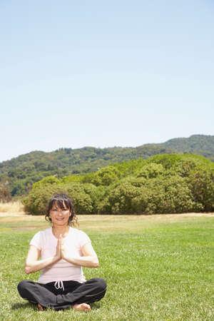 ceasing: Asian woman practicing yoga