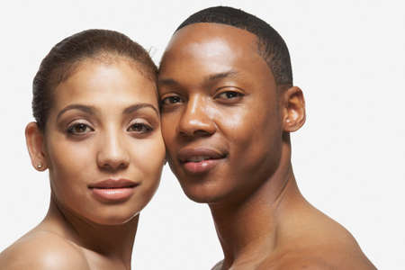 saturating: African American couple touching faces