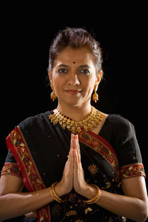 handsfree: Indian woman in traditional dress