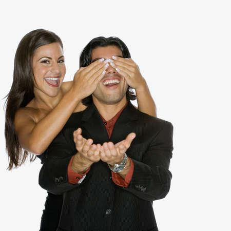 grampa: Woman covering boyfriend's eyes