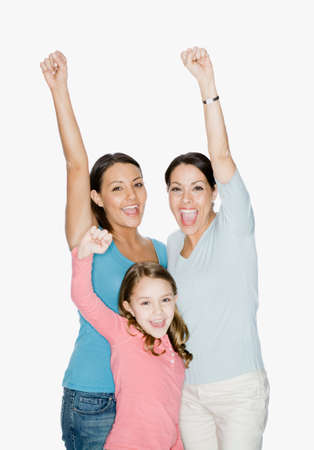 dubious: Hispanic mother and daughters cheering