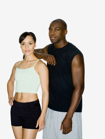 athletic gear: Multi-ethnic couple in athletic gear