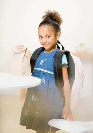 aggravated: African American girl wearing backpack