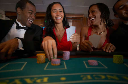 ostentatious: Multi-ethnic couples gambling