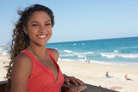 teenaged girl: Hispanic teenaged girl at beach