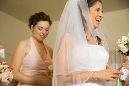 flowergirl: Hispanic bride laughing