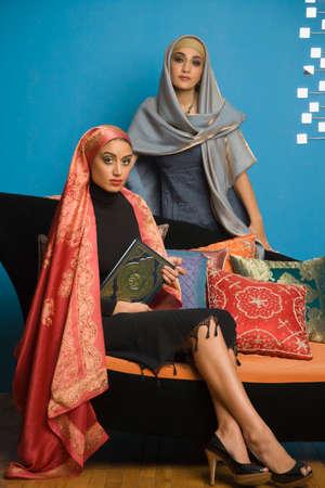 Middle Eastern women wearing head scarves