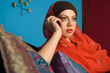 davenport: Middle Eastern woman talking on cell phone