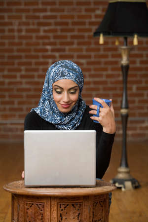middle eastern: Middle Eastern businesswomen looking at laptop