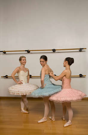 after hours: Hispanic female ballet dancers in studio