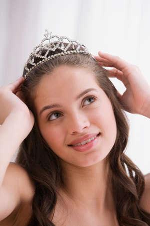 teenaged girl: Hispanic teenaged girl wearing tiara