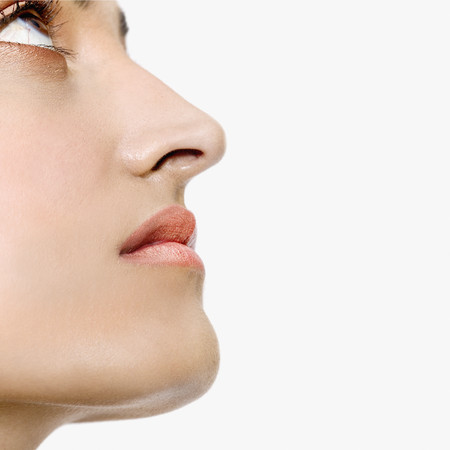 playing on divan: Profile of Indian woman looking up