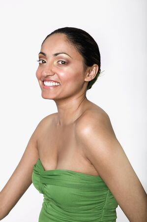 Indian woman wearing strapless top Stock Photo