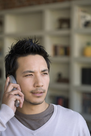 world at your fingertips: Asian man talking on telephone LANG_EVOIMAGES