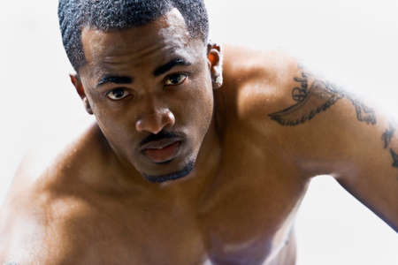 barechested: Portrait of bare-chested African American man