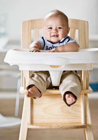 sopping: Asian baby sitting in highchair