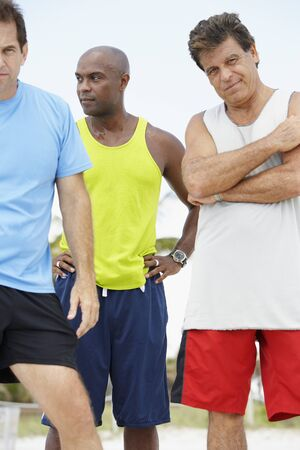 athletic gear: Multi-ethnic men in athletic gear