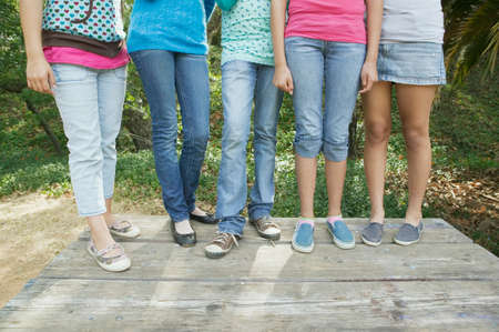 teenaged girls: Low section close up of Hispanic teenaged girls