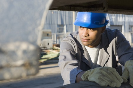 hardhat: African American male construction worker wearing hardhat