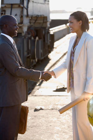 joining forces: African American businesspeople shaking hands