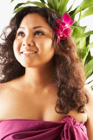 islander: Pacific Islander woman with flower in hair