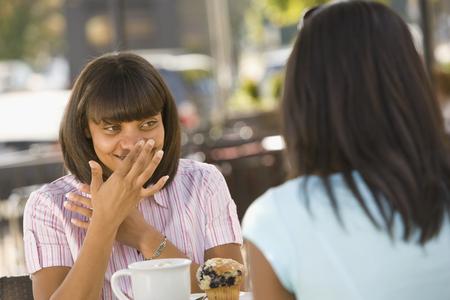 african american woman: African teenaged girl talking to friend