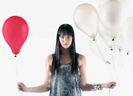 islander: Pacific Islander woman holding balloons