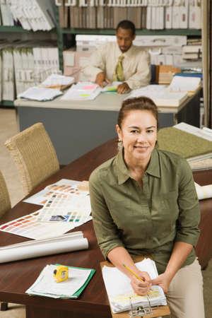 clerks: Multi-ethnic sales clerks in flooring store