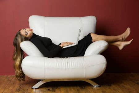 distinctive: Middle Eastern woman laying on chair