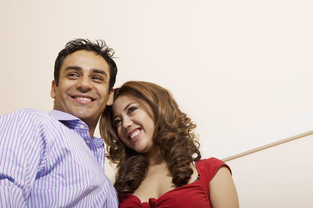Low angle view of Multi-ethnic couple Stock Photo