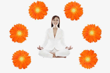 interrogating: Asian woman surrounded by flowers