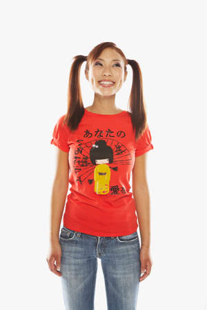 relishing: Asian woman with ponytails