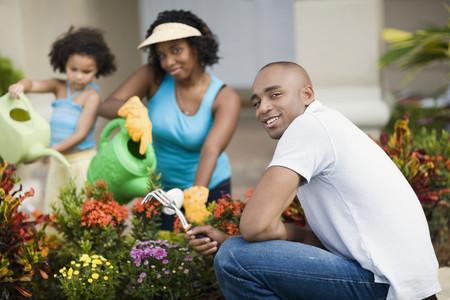 African family gardening Stok Fotoğraf