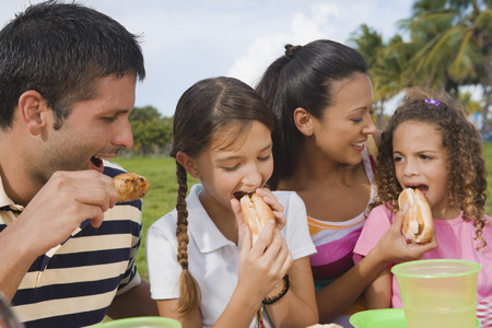 fathering: Hispanic family eating outdoors