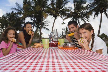 Hispanic family eating at picnic table LANG_EVOIMAGES