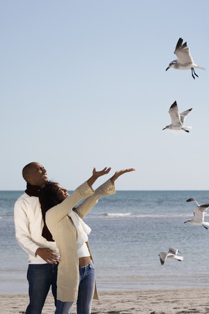 Multi-ethnic couple watching seagulls