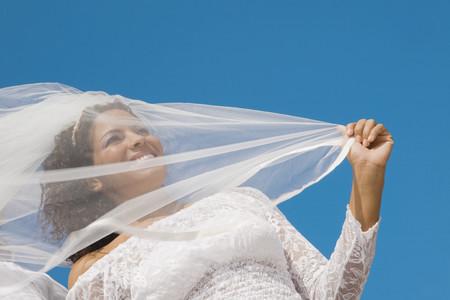 milepost: Low angle view of Hispanic bride