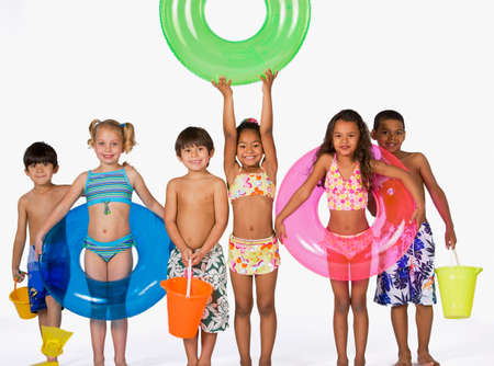 bathing suits: Multi-ethnic children wearing bathing suits