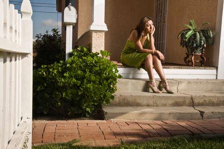 teenaged girl: Hispanic teenaged girl in evening gown