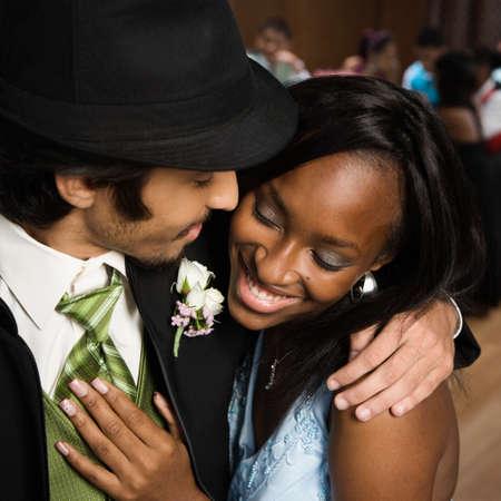 milepost: Multi-ethnic teenaged couple at prom