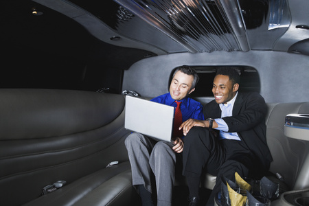 telecommuter: Multi-ethnic businessmen looking at laptop