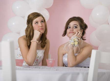 gala: Bored multi-ethnic girls at prom