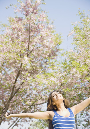 middle eastern woman: Middle Eastern woman enjoying nature